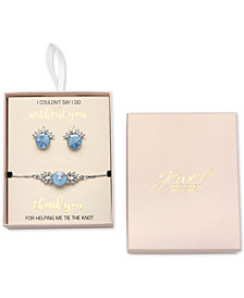 Jewel Badgley Mischka Crystal Stud Earrings & Slider Bracelet Set