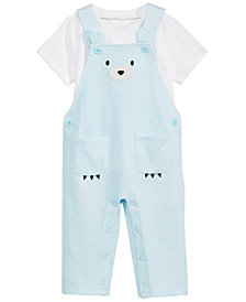 First Impressions Baby Boys 2-Pc. Bear Face Overalls & Shirt, Created for Macy's