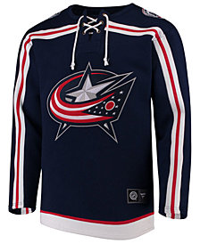 Majestic Men's Columbus Blue Jackets Breakaway Lace Up Crew Sweatshirt