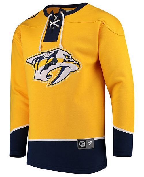 03a43d20f5e ... Majestic Men s Nashville Predators Breakaway Lace Up Crew Sweatshirt ...