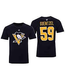 Men's Jake Guentzel Pittsburgh Penguins Authentic Stack Name & Number T-Shirt