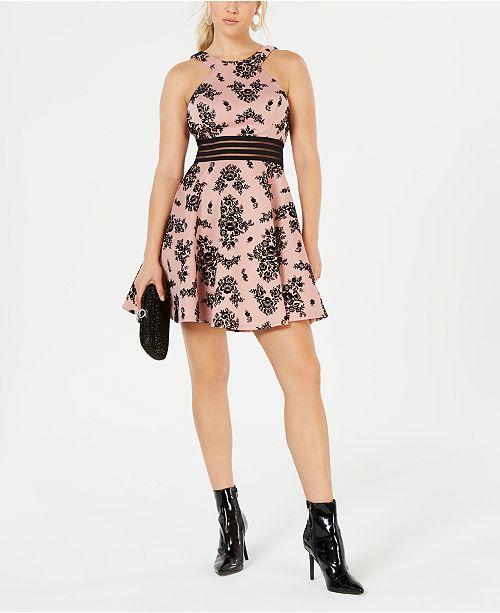 b4d66faef City Studios Juniors' Velvet Printed Illusion Dress & Reviews ...