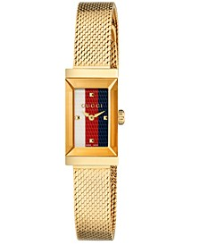 Women's Swiss G-Frame Gold-Tone Stainless Steel Mesh Bracelet Watch 14x25mm