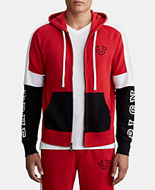 True Religion Men's Tri-Color Zip-Up Hoodie