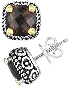 Smoky Quartz Two-Tone Stud Earrings (4 ct. t.w.) in Sterling Silver & 14k Gold