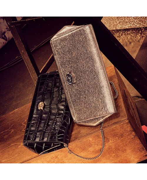 08005a6d3f6c COACH Alexa Metallic Turnlock Clutch in Smooth Leather - Handbags ...