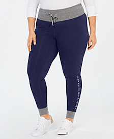 Tommy Hilfiger Plus Size Contrast-Trim Logo Leggings
