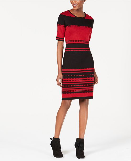 NY Collection Petite Striped Sweater Dress
