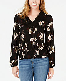 American Rag Juniors' Smocked Floral-Print Top, Created for Macy's