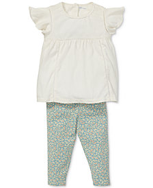 Polo Ralph Lauren Baby Girls Lace Top & Floral-Print Leggings Set
