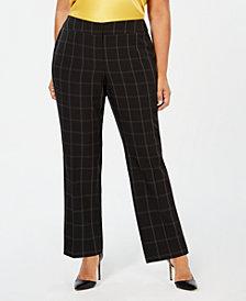 Kasper Plus Size Windowpane-Print Pants
