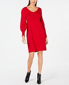NY Collection Petite Lantern-Sleeve Sweater Dress