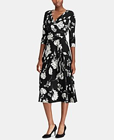 Floral-Print Midi Surplice Dress