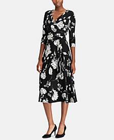 Lauren Ralph Lauren Floral-Print Midi Surplice Dress