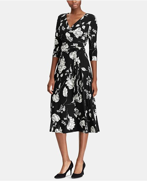 Lauren Ralph Lauren Floral-Print Midi Surplice Dress