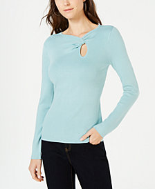 I.N.C. Petite Twist-Front Long-Sleeve Sweater, Created for Macy's