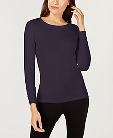 Alfani Long Sleeve Ruched Top Created For Macys