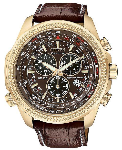 Citizen Men's Chronograph Eco-Drive Dark Brown Leather Strap Watch 43mm BL5403-03X
