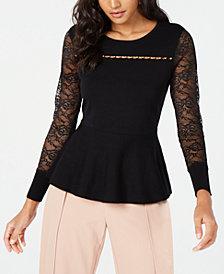 Thalia Sodi Lace-Sleeve Peplum Top, Created for Macy's