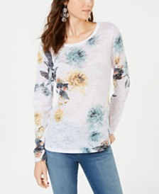 I.N.C. Floral-Print Long-Sleeve Top, Created for Macy's