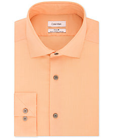 Calvin Klein Men's STEEL Slim-Fit Non-Iron Stretch Performance Unsolid Dress Shirt