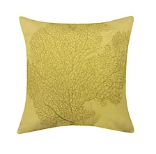 Embroidered Printed Coral Outdoor Pillow