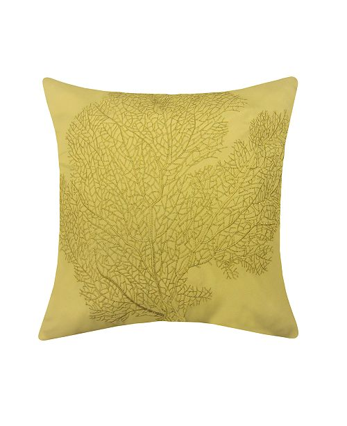 Edie@Home Embroidered Printed Coral Outdoor Pillow