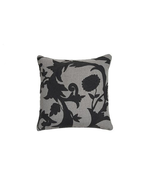 Edie@Home Floral Crewel Embroidered Pillow