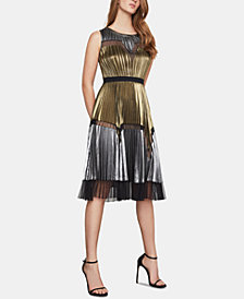 BCBGMAXAZRIA Lucea Colorblocked Pleated Dress