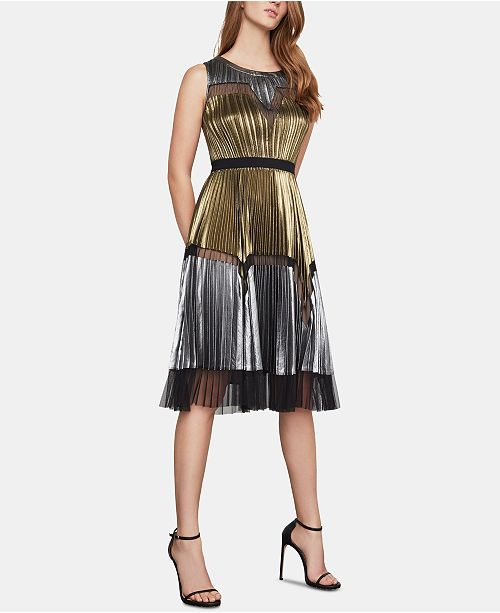 c263ecf7b5bf6 BCBGMAXAZRIA Lucea Colorblocked Pleated Dress  BCBGMAXAZRIA Lucea  Colorblocked Pleated Dress ...