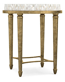 Cynthia Rowley Aura Round Accent Table w/ Shell Top