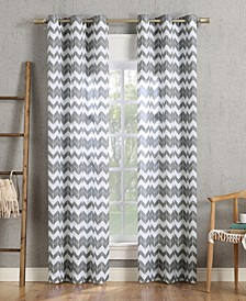 No. 918 Kai Chevron Semi-Sheer Grommet Curtain Panel Collection