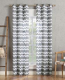 "Lichtenberg No. 918 Kai Chevron Semi-Sheer Grommet Curtain Panel, 40"" W x 63"" L"