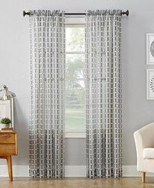 "Lichtenberg No. 918 Miller Geometric Sheer Rod Pocket Curtain Panel, 59"" W x 95"" L"