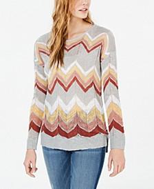 Juniors' Chevron Pointelle Sweater