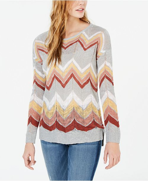 Hippie Rose Juniors' Chevron Pointelle Sweater