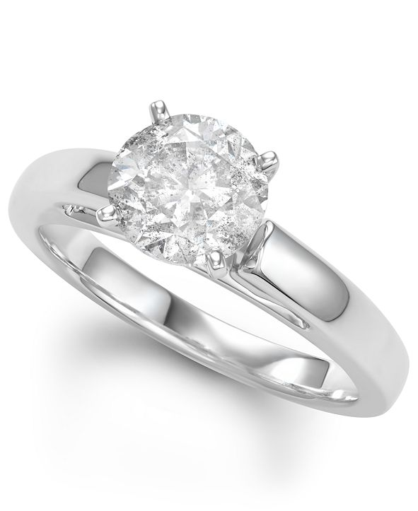 Macy's Diamond Solitaire Engagement Ring (2 ct. t.w.) in 14k White Gold
