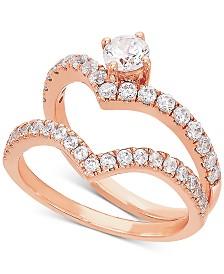 Diamond V Bridal Set (1 ct. t.w.) in 14k Rose Gold