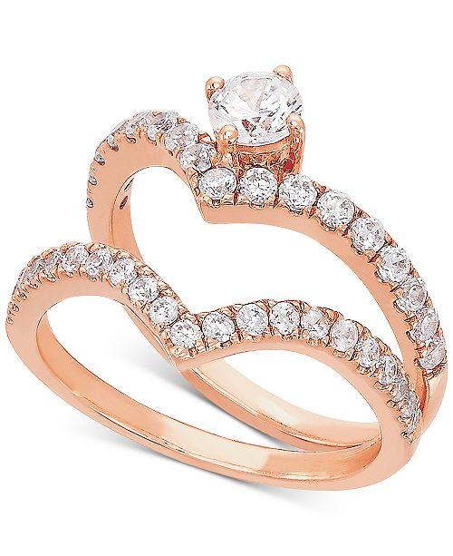Macy's Diamond V Bridal Set (1 ct. t.w.) in 14k Rose Gold