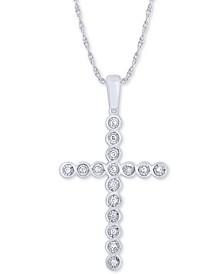 "Diamond Cross 18"" Pendant Necklace (1/8 ct. t.w.) in 10k White Gold"