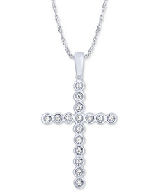 "Diamond Cross 18"" Pendant Necklace (1/8 ct. t.w.) in 10k White Gold"