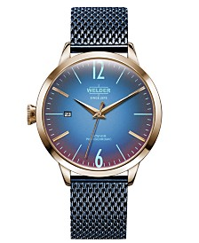 WELDER Women's Blue Stainless Steel Mesh Bracelet Watch 38mm