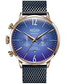 Men's Blue Stainless Steel Mesh Bracelet Watch 45mm