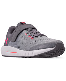 Under Armour Little Girls' Pursuit Adjustable Strap Athletic Sneakers from Finish Line
