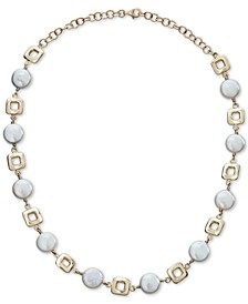 "Cultured Coin Freshwater Pearl (10mm) Collar Necklace in 14k Gold, 14-1/2"" + 2"" extender"