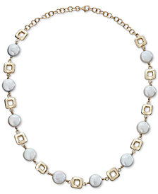 """Cultured Coin Freshwater Pearl (10mm) Collar Necklace in 14k Gold, 14-1/2"""" + 2"""" extender"""