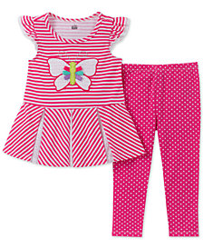 Kids Headquarters Toddler Girls 2-Pc. Butterfly Tunic & Dot-Print Leggings Set