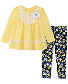 Kids Headquarters Toddler Girls 2-Pc. Lace-Trim Tunic & Leggings Set