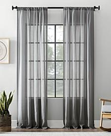 "Textured Cotton Blend Sheer Curtain, 54"" W x 95"" L"
