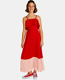 Rare Editions Big Girls Ruffle-Trim Pleated Maxi Dress